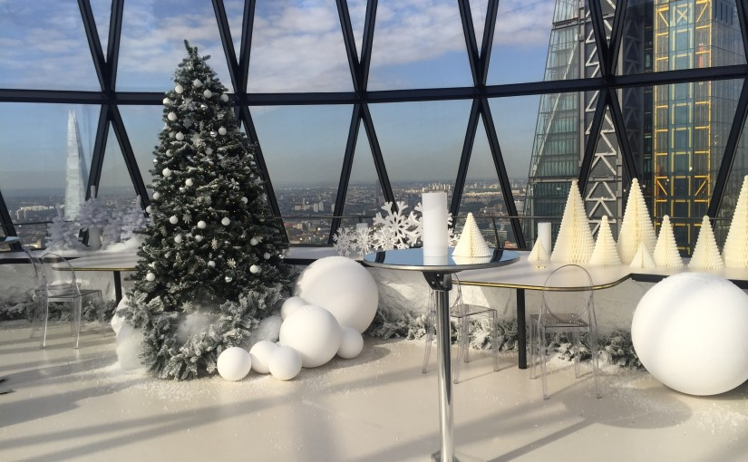 Gherkin Christmas Party EC3. Decorated for christmas, large christmas tree.
