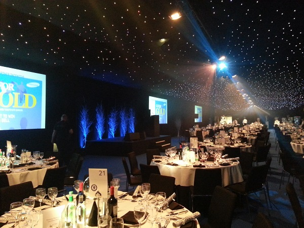 Chelsea Stamford Bridge Christmas Party SW6- Christmas dinner set out banqueting style