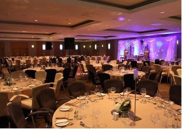 Hilton Canary Wharf Shared Christmas Party E14, set up for dinner