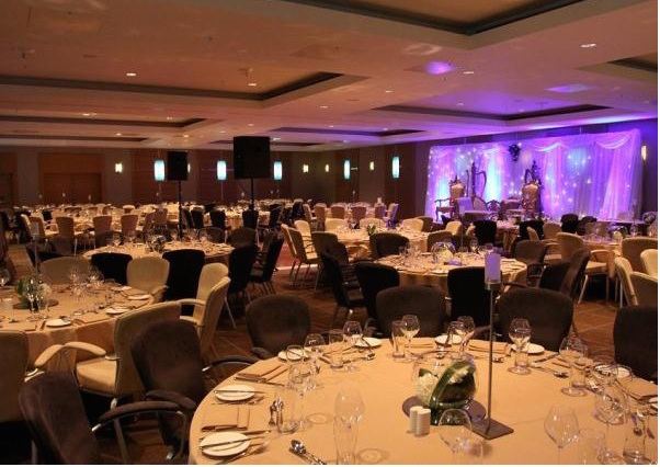 Hilton Canary Wharf Christmas Party E14, ,set up for dinner