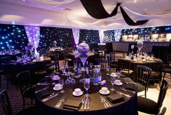 Lord's Cricket Ground Christmas Party NW8, marque with hanging ribbon for sit down meal