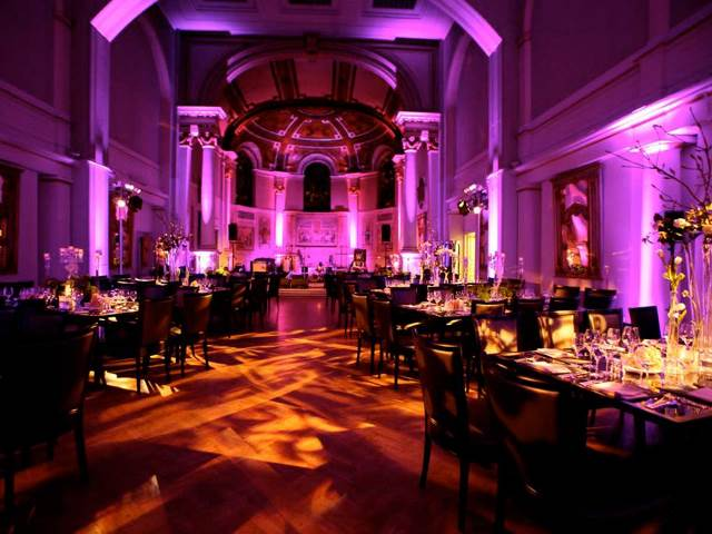One Marylebone Christmas Party NW1. inside of this large venue with festive lighting.