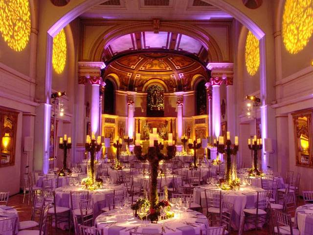 One Marylebone Christmas Party NW1. with up lighters with festive lighting showing off venues space