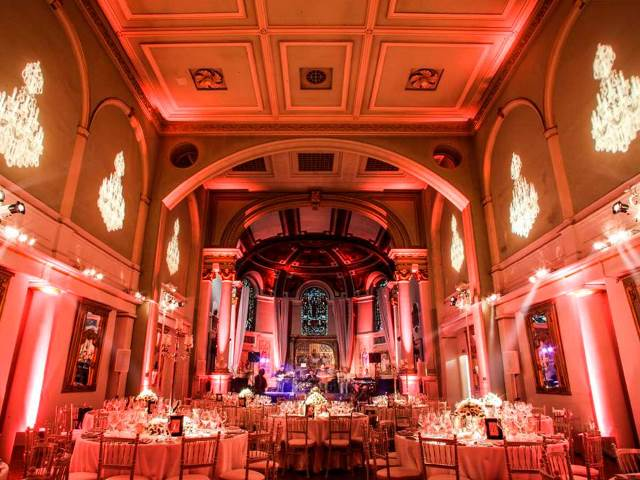One Marylebone Venue Hire, NW1- Function room set out on round banqueting tables