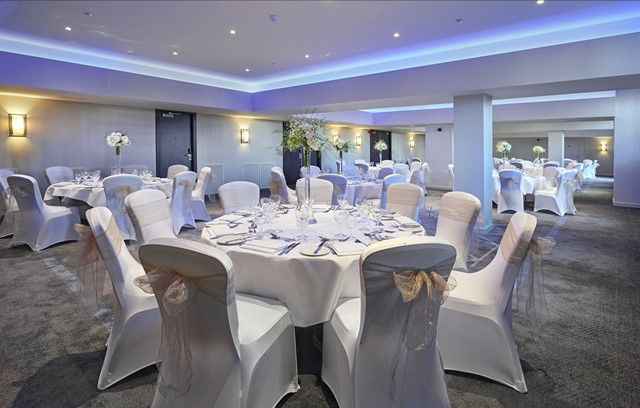 DoubleTree By Hilton Docklands Christmas Party SE16, banqueting set up with blue lights