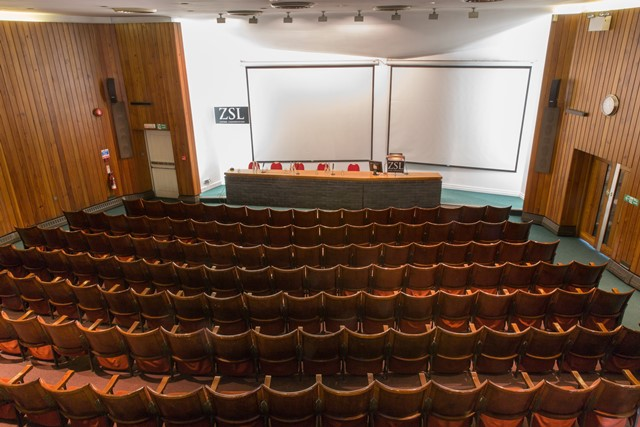 Huxley Lecture Theatre in theatre style with contemporary wooden chairs and presentation facilities ZSL London Zoo Venue Hire NW1