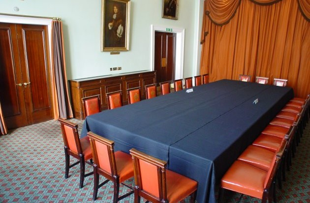 Pepys Room set for boardroom meeting with table cover on the oak table Trinity House Venue Hire EC3