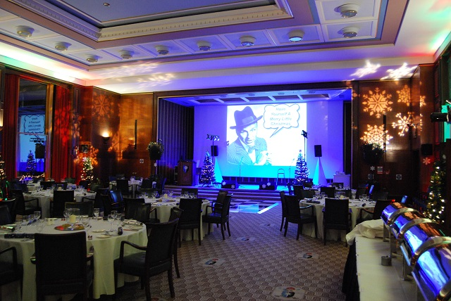 Christmas party dinner layout in the Nuffield Hall Rooms on Regent's Park Christmas Party NW1