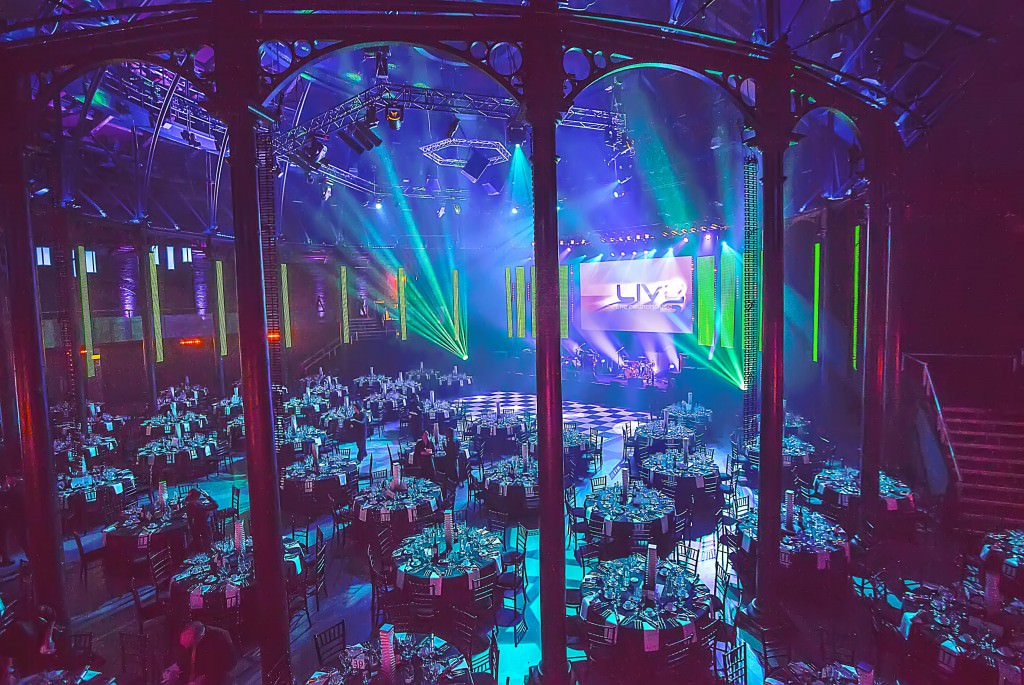Roundhouse Venue Hire NW1, seated dinner set up, lighting