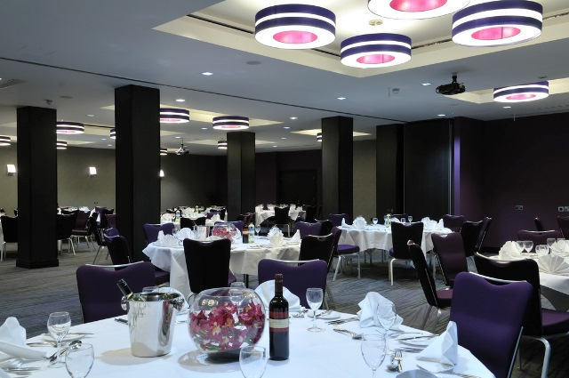 DoubleTree West End Christmas Party WC1, seated dinner, round tables with decorations