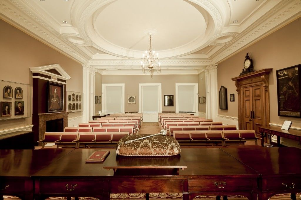 Society of Antiquaries Venue Hire W1, conference set up with grand chandelier