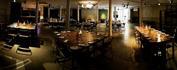 Tanner Warehouse Venue Hire London SE1 dining set out for guests to enjoy their event