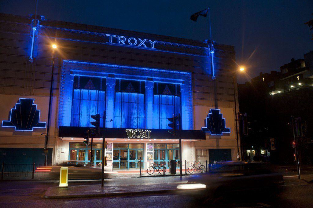 Troxy London Venue Hire E1,outside of building with blue lights