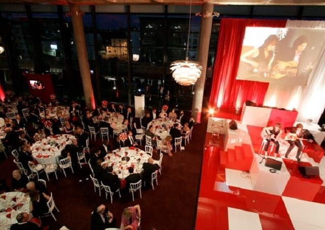 Emirates Stadium Christmas Party N5. Event space set up for an Christmas party.