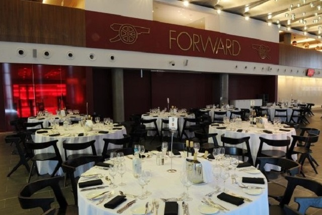 Emirates Stadium Christmas Party N5. Round tables set up for dining experience.