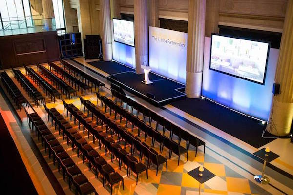 Banking Hall Venue Hire London EC3 theatre style conference with screen infront