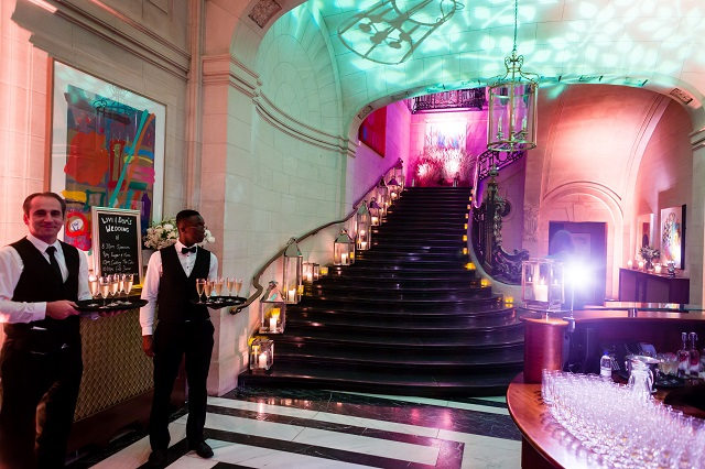 10 - 11 Carlton House Terrace Christmas Party SW1. 10-11 Carltons House unique staircase with festive lighting.