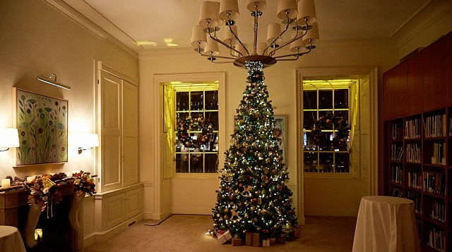No.11 Cavendish Square Christmas Party W1. Event space with Christmas tree decorated