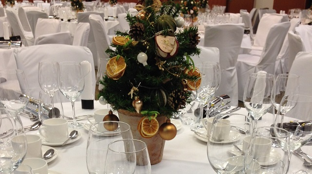 No.11 Cavendish Square Christmas Party W1. table and chairs set out with centre piece in middle