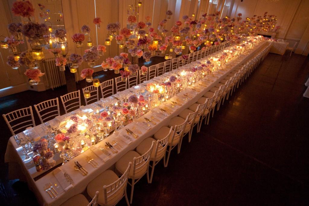 Il Bottaccio London Venue Hire SW1, long table with hanging decor