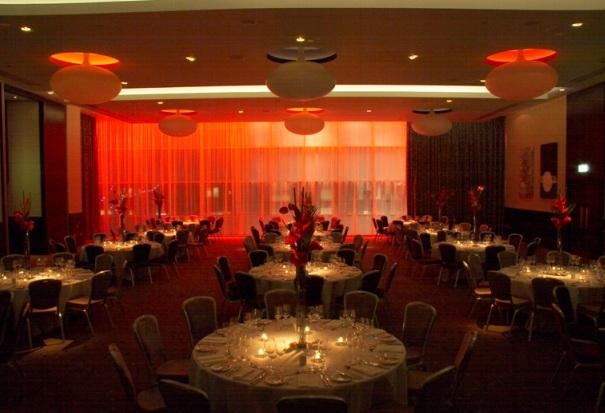 Hilton Tower Bridge Christmas Party SE1, red lighting and decor
