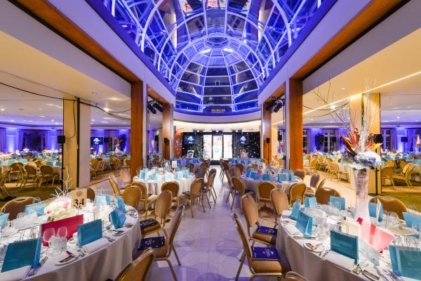 Hurlingham Club Venue Hire SW6, venue with a glass roof set up for dinner