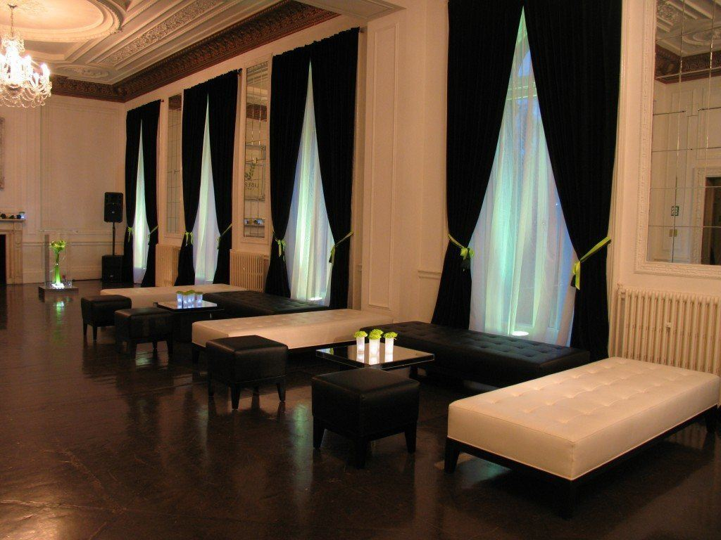 Il Bottaccio London Venue Hire SW1, long tables and curtains hanging