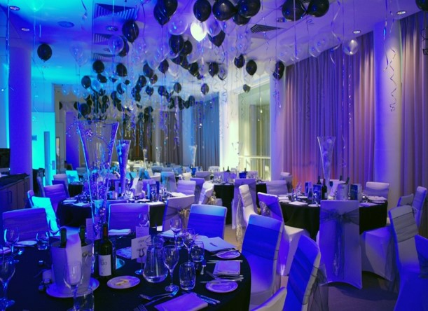 Double Tree Hilton Manchester Christmas Party M1, seated dinner set up, Christmas novelties