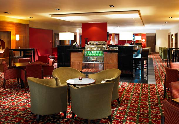 View of the lounge bar with casual seating Manchester Airport Marriott Hotel Venue Hire WA15
