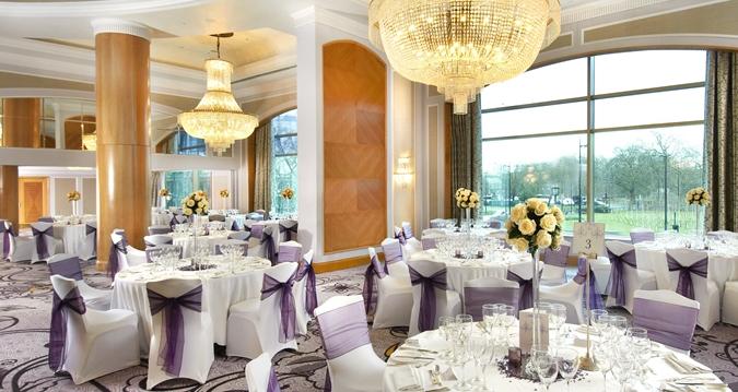 Hilton London Park Lane Christmas Party W1, purple decor ffor dining