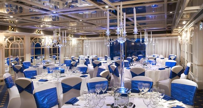 Hilton London Park Lane Christmas Party W1, blue decor for dining