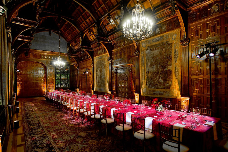 Two Temple Place Venue Hire WC2, unique venue, boardroom style layout, seated dinner, table cloths and centre pieces