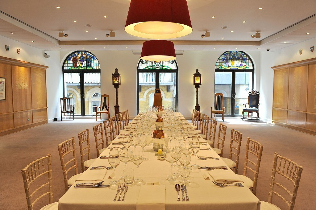 Glaziers Hall London Venue Hire SE1, set up for a private dinner