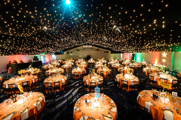 Wonder Nights Shared Christmas Party EC1 large venue with effect of stars shining in the sky and round tables set out, banqueting style