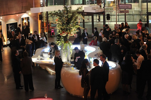 Museum of London Christmas Party EC2. standing reception for guests to enjoy canapes and a bar serving drinks