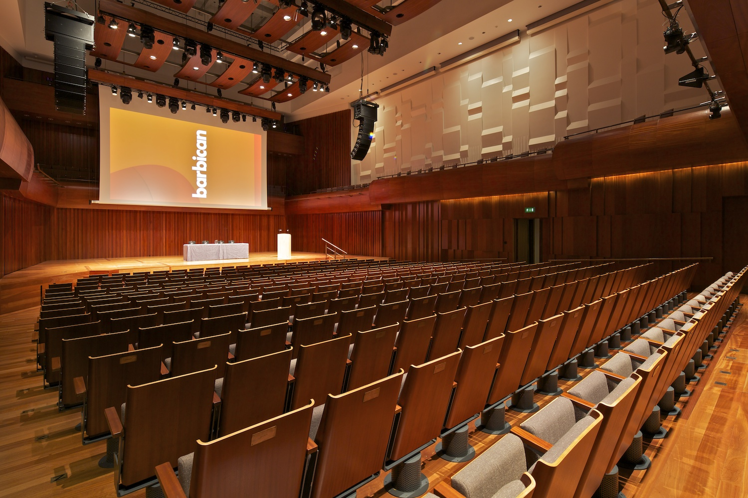 Milton Court Venue Hire EC2 screening room, chairs set out theatre style with screen