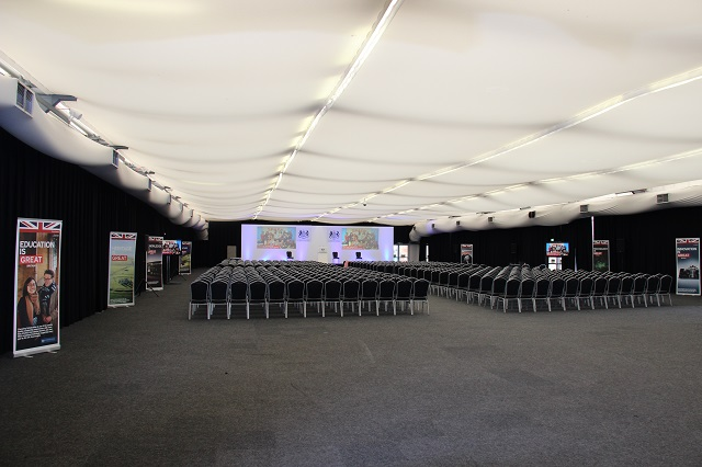 Panorama Room set for a conference with chairs set in theatre style and large presentation facilities Alexandra Palace Venue Hire London N22