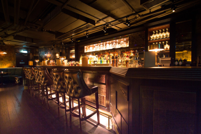 View of the Soda Rooms private bar with chesterfield high stools Botanist Broadgate Circle Venue Hire EC2