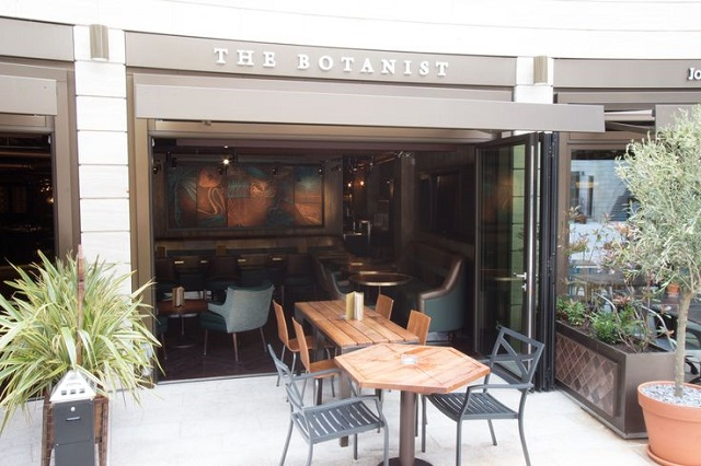Outside Seating bench with open french windows into the restaurant Botanist Broadgate Circle Venue Hire EC2