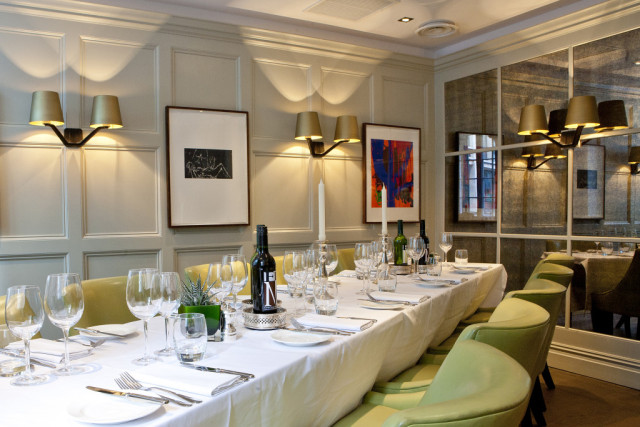 Restaurant Chiswell Street Dining Rooms Venue Hire EC1 The elegant restaurant boasts comfortable soft leather tub chairs for your guests as they dine on the best of British cooking