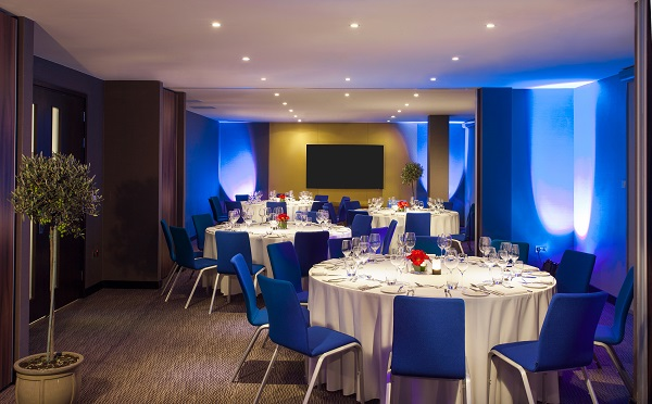 M by Montcalm Christmas Party London EC1- Lounge set out for an evening dinner party