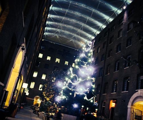 Devonshire Terrace Christmas Party EC2, large festive christmas tree, festive lighting