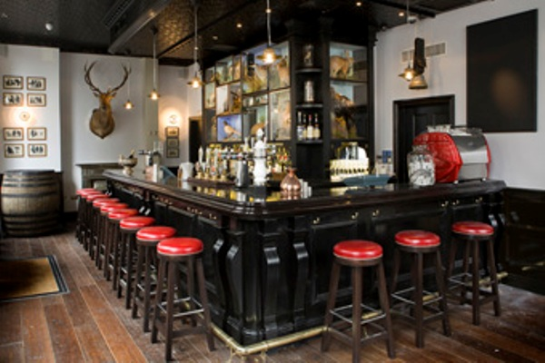 Bar Area with informal high stool seating and cask ales Jugged Hare Christmas Party EC1