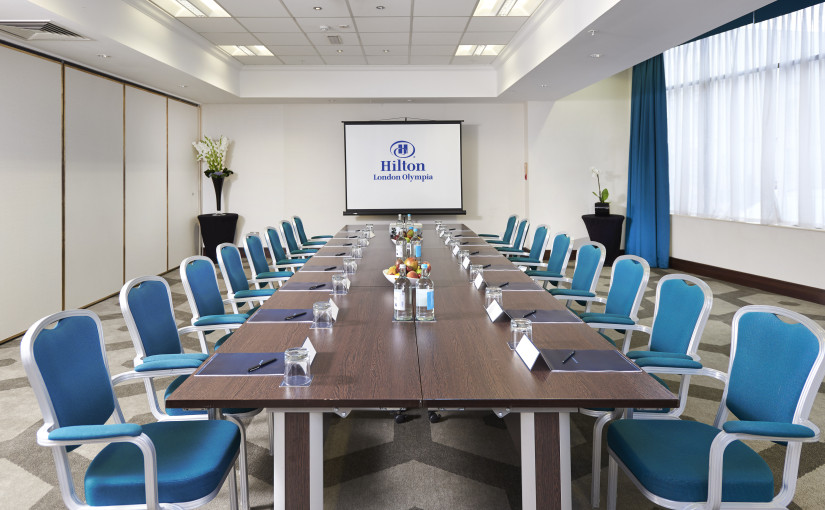 Hilton London Olympia Venue Hire W1, board roomset up with water on table