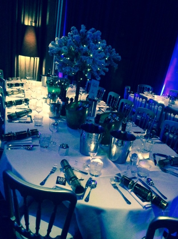 Malmaison Liverpool Christmas Party L3 private dining with blue intimate lighting
