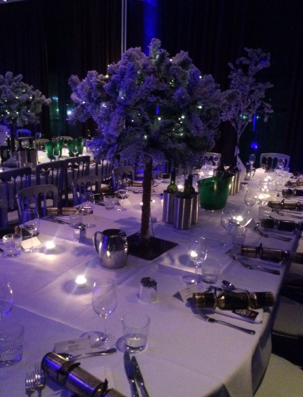 Malmaison Liverpool Christmas Party L3, purple lighting with a large centre piece