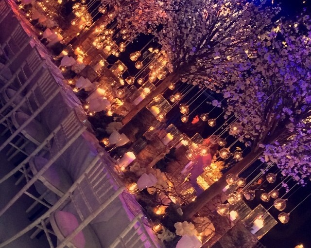 Malmaison Liverpool Christmas Party L3, purple centre pieces on a long table