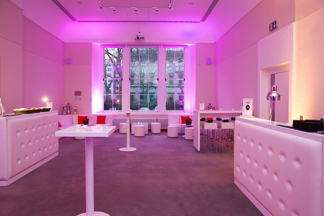 Prince Philip House Summer Party SW1 reception set up with white furnishings
