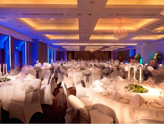 Royal Garden Hotel Christmas Party Venue W8. Tables set out for christmas dining
