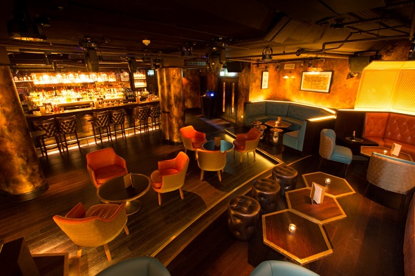 Soda Room with informal lounge chairs and private bar Botanist Broadgate Christmas Party EC2